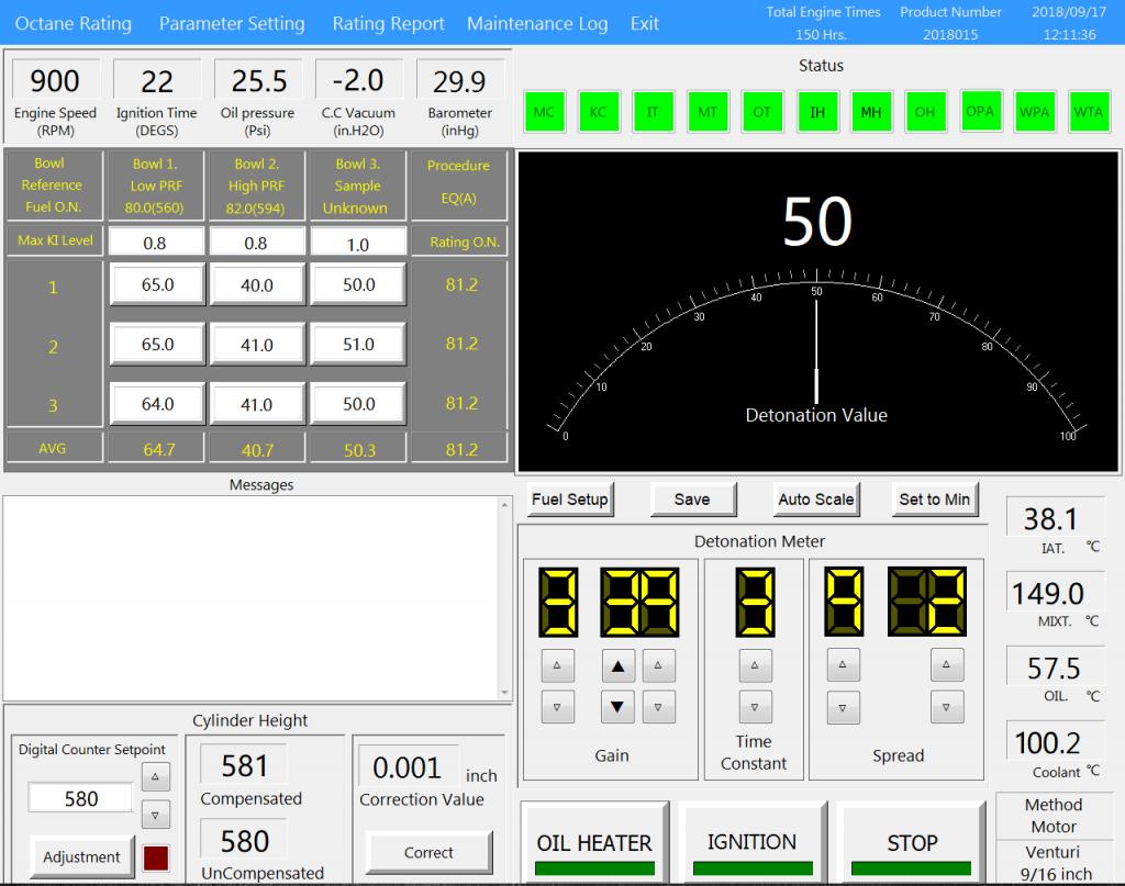 CFR octane engine-octane rating operations