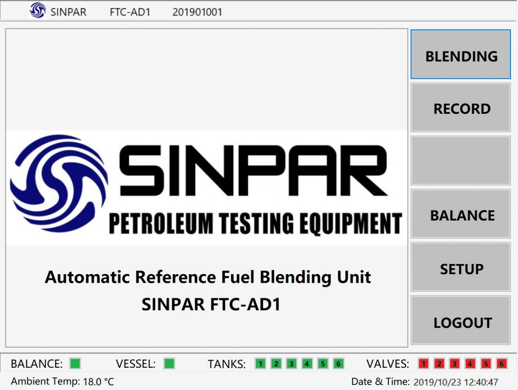 SINPAR automatic reference fuel blender